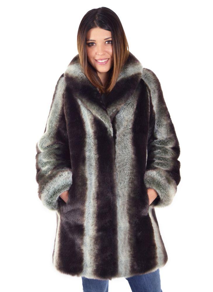 CHINCHILLA  31 Inch Faux Fur Coat