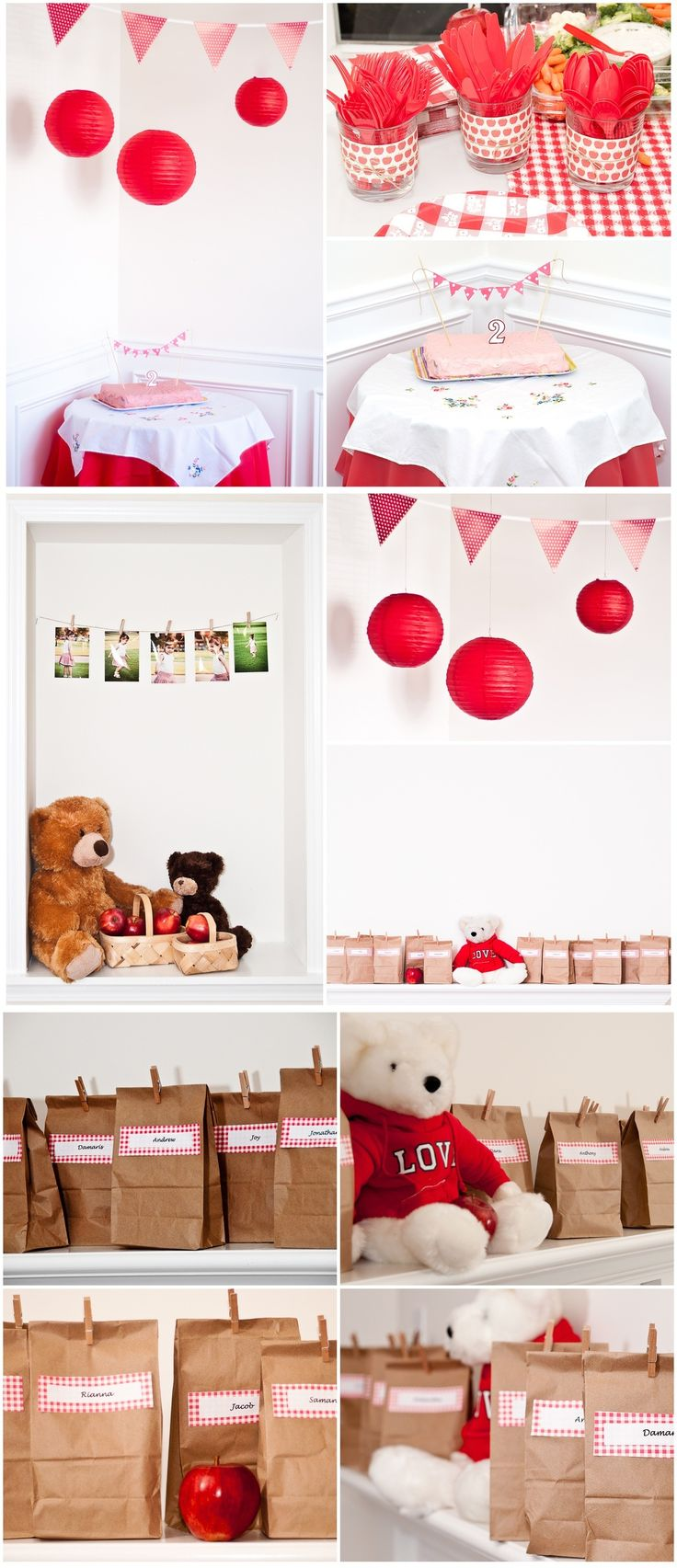 Teddy bear picnic - brown paper, red gingham