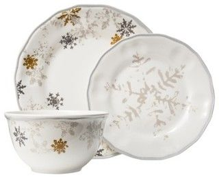 Threshold Snowflake Scallop 12-Piece Dinnerware Set, White - contemporary - holiday decorations - by Target