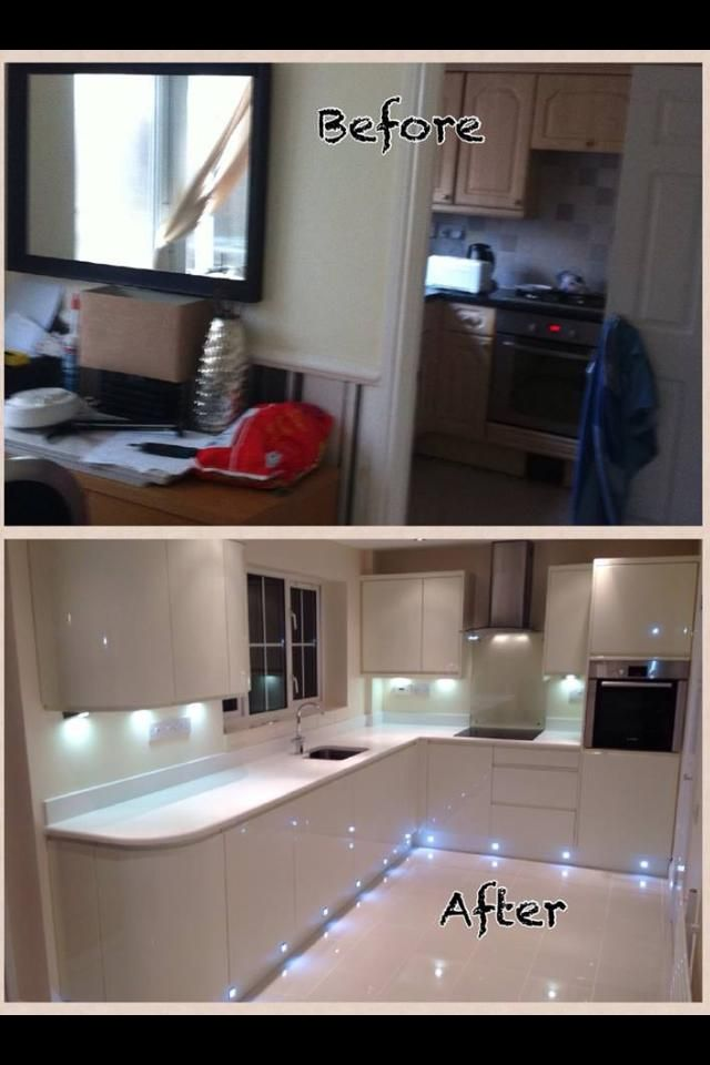 Wren Living: Thanks to Howard for sharing this fantastic before and after shot with us! Another stunning example of our Handleless cream gloss range :) LED plinth lighting looks uber modern, and the super white quartz worktops are dazzling!