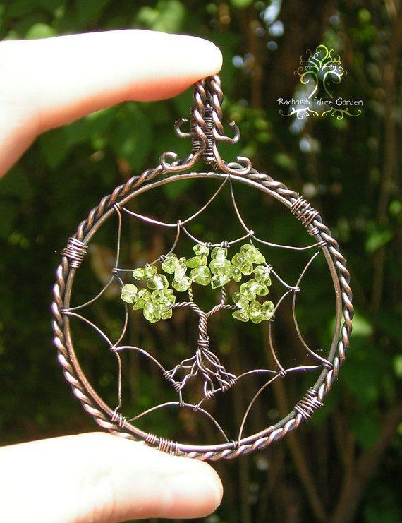 Dreamcatcher Tree of Life Wire Wrapped Pendant Jewelry Ornament Peridot Birthstone Oxidized Copper Wire