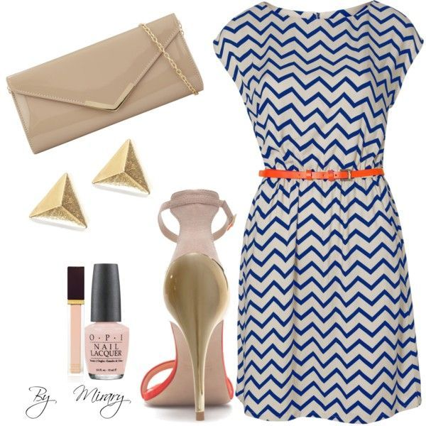 Blue and white chevron dress with the perfect accessories: light pink nail polish & heels, nude clutch, and gold earrings! Great summer look! –– FashionWife.com
