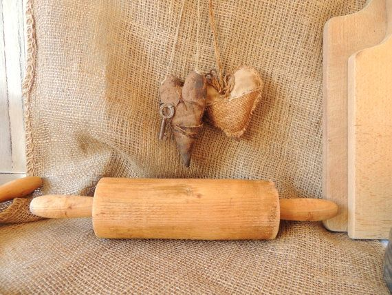 French Vintage Antique Wooden Kitchen Roller Vintage