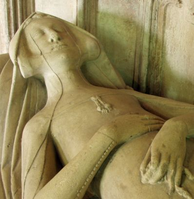 Blanche Mortimer died in 1347. She is buried in the chancel of Much Marcle parish church. Close up of the effigy.