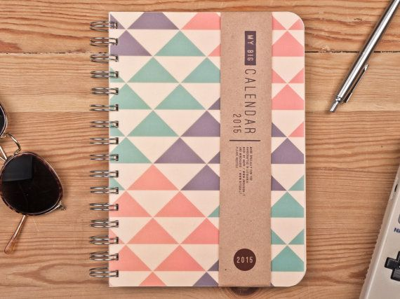 2015 Year Weekly Planner Calendar Diary Day Spiral A5 Triangle Agenda Day Planner - BEST Valentines GIFT!