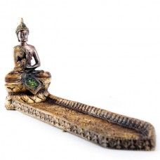 Each Thai Buddha is made from resin and has been finished in a dark bronze effect and gold paint.
