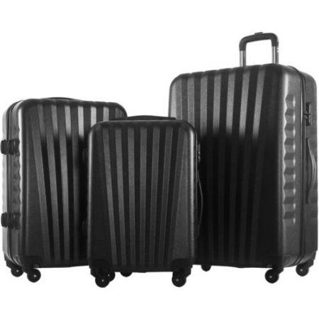 Merax Luggage 3-Piece Set ABS Material Suitcase, Black