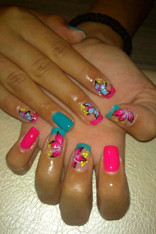 128 best uitas flores images on pinterest nail art nail art blue green and pink flower nail design i love the color combo perfect for prinsesfo Choice Image
