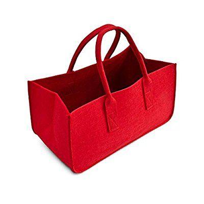 En feutre rouge sac de rangement panier de rangement à bûches en feutre porte-journaux