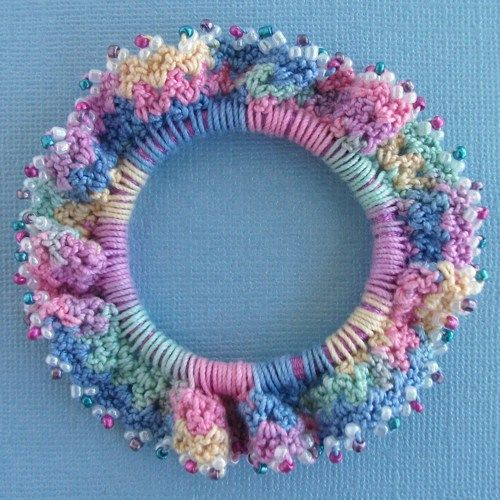 Free Crochet Patterns Scrunchies | Pretty in Pastels Beaded Designer Crochet Scrunchie ...