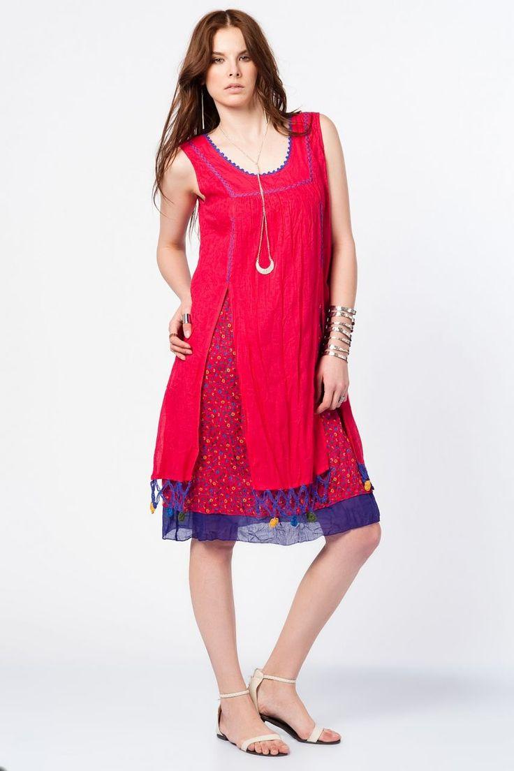 Otantik Olimpos Elbise - Kırmızı