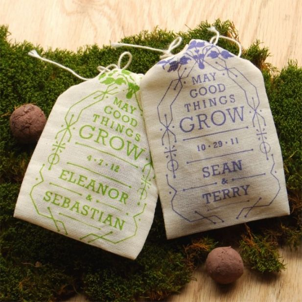 "Amazing wedding favor with the bride's favorite flower or herb seeds! There are many other Pins that tell you how to make ""seed balls"" or ""seed bombs"""
