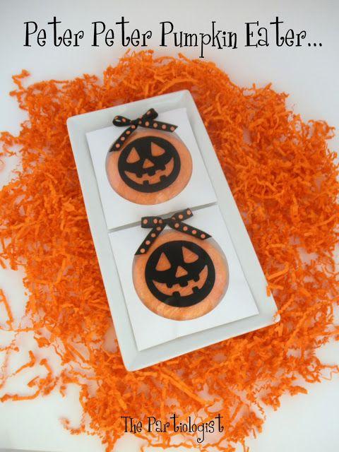 The Partiologist: Pumpkin Favors/TREATS ~Orange Flavored.  Orange Colored.  Orange Sprinkled.    Sugar Cookies in CD sleeves