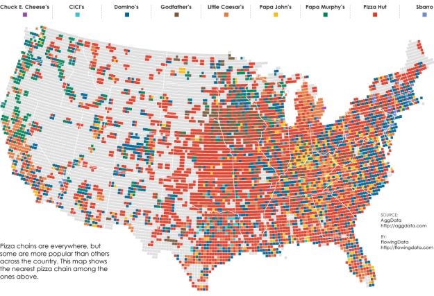 shows the nearest pizza place within a 10-mile radius across the United States. Nice and clean data courtesy of AggData.