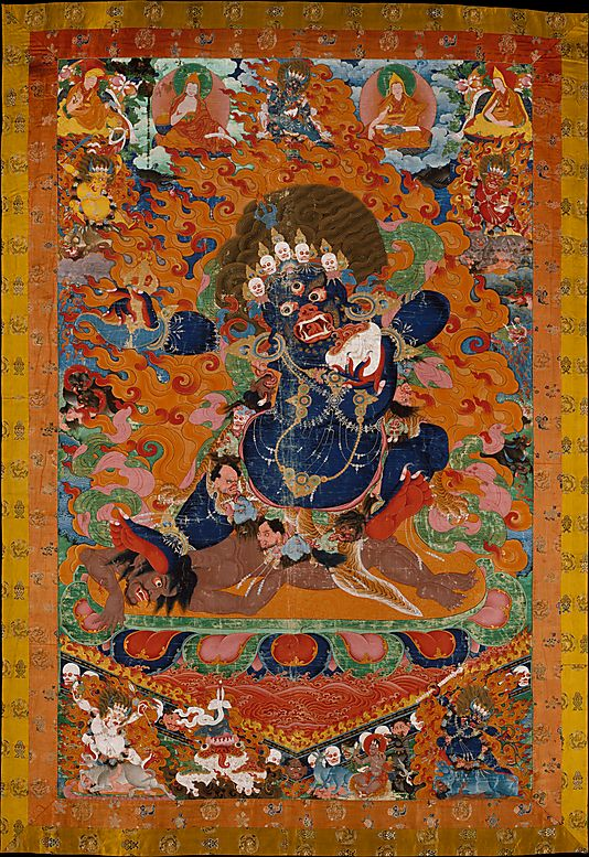 Yamantaka, Destroyer of the God of Death, early 18th century. Tibet. The Metropolitan Museum of Art, New York. Purchase, Florance Waterbury Bequest, 1969 (69.71) | Yamantaka is a violent aspect of the Bodhisattva Manjushri, who assumes this form to vanquish Yama, the god of death. #Halloween