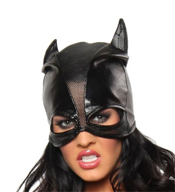 Leather Gauze Splicing Catwoman Head Cover Leather Game Cosplay Mask