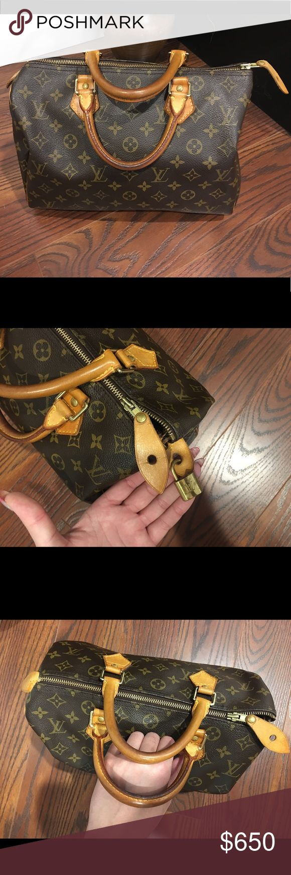 Louis Vuitton speedy 30 Monogram bag! Louis Vuitton speedy 30 Monogram bag! In great condition!! 100% Authentic!! Does not come with key just the lock. Some water marks inside bag other than that In fantastic condition as you can see!! Louis Vuitton Bags