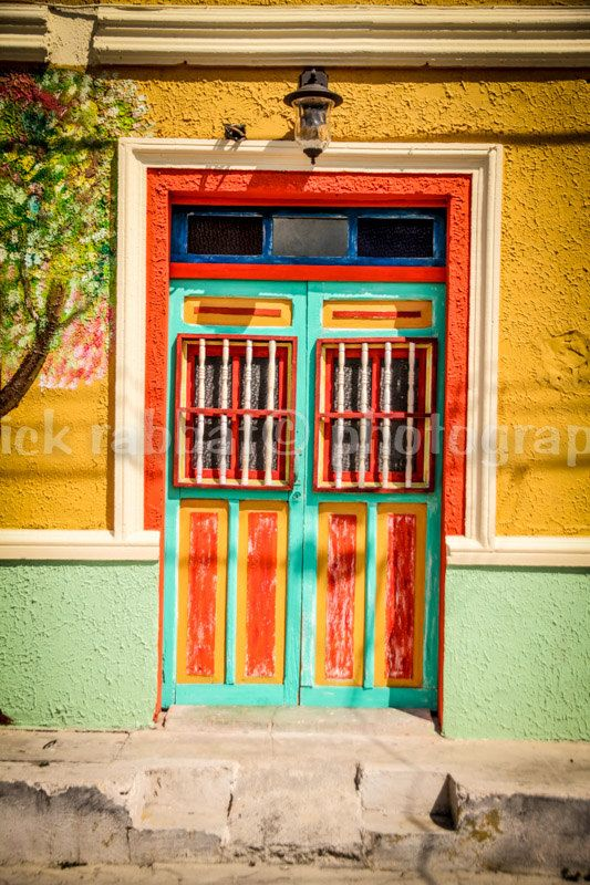 Mexican Door Fine Art Photography Cancun Mexico Isla Mujeres Colorful Door Wall Art Bedroom Office Bathroom Living Room Decor Orange Green (12.00 CAD) by PatrickRabbatPhotos