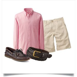 Polyvore: pink OCBD, stone shorts, brown braided belt, amaretto Sperry A/O 2.