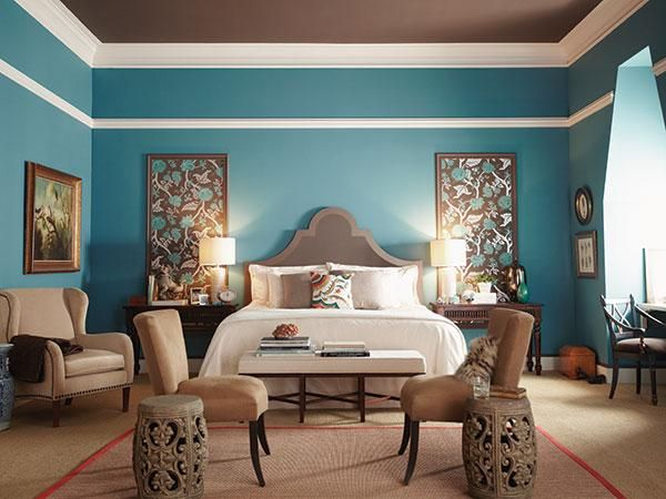 Decorating ideas unexpected ways to add color to your for Blue brown bedroom ideas