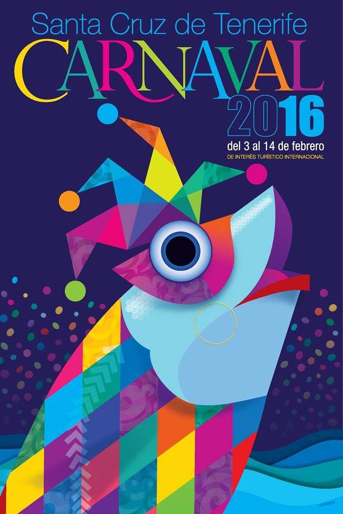 Cartel anunciador del #Carnaval 2016, obra del artista Javier Torres Franquis, que ha elegido como motivo central de su diseño un chicharro disfrazado de arlequín. #carnival #Canarias