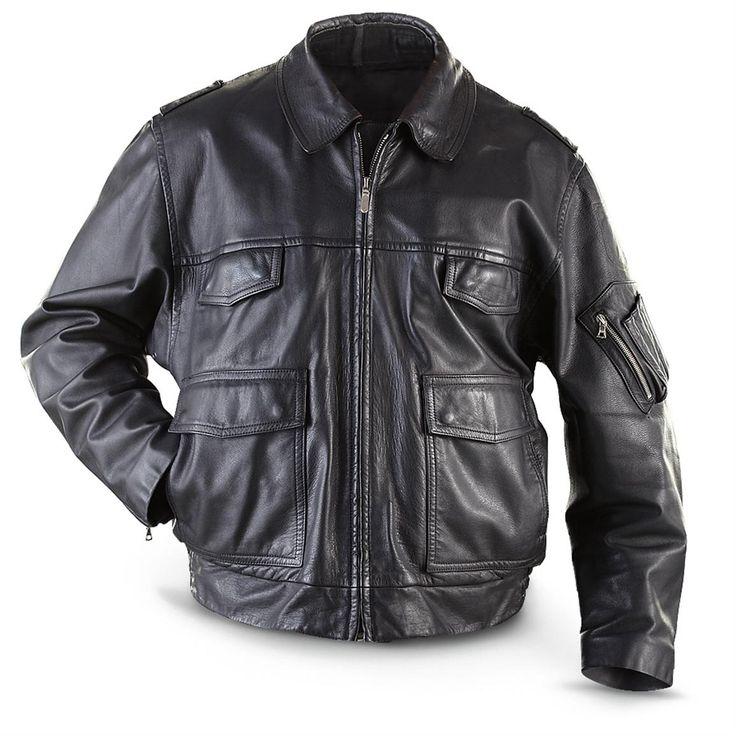 Used German Military Surplus Leather Police Jacket, Black