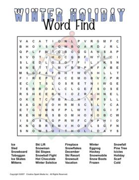Snowman word find - kids holiday party game. Christmas games, kids winter games.