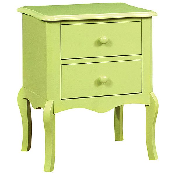 Serendipity Green Delio Two-Drawer Nightstand ($110) ❤ liked on Polyvore featuring home, furniture, storage & shelves, nightstands, home storage furniture, wood furniture, wood bedside table, green nightstand and green furniture