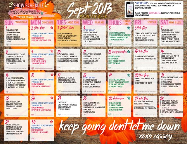 September Calendar Blogilates September Calendar 2018