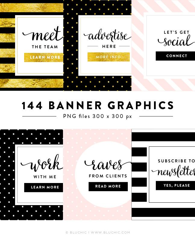 Banner Suite : Chloe. Style your website or blog sidebar with these gorgeous banner graphics, which also work as call-to-action buttons.