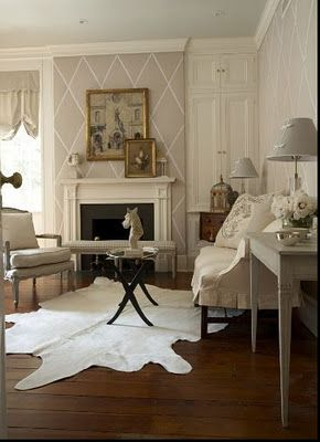 * Happyroost Interiors: Cowhide Rugs - Beautiful white, clean bright design - #Cowhide #InteriorDesign http://www.RawhideCompany.com