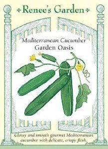 """Mediterranean Cucumber Seeds - Garden Oasis F1 by Renee's Garden. $2.79. Germination: 5-10 Days. Plant In: April - June. Days to Maturity: Approx. 60. Planting Depth: 1"""" / Space Seeds:  4"""". Location: Full Sun. Extra-sweet, burpless, uniquely smooth-skinned Beit alpha cucumber renowned for quality throughout the Mediterranean basin. High yields of glossy fruits with refreshing juicy-sweet flesh."""
