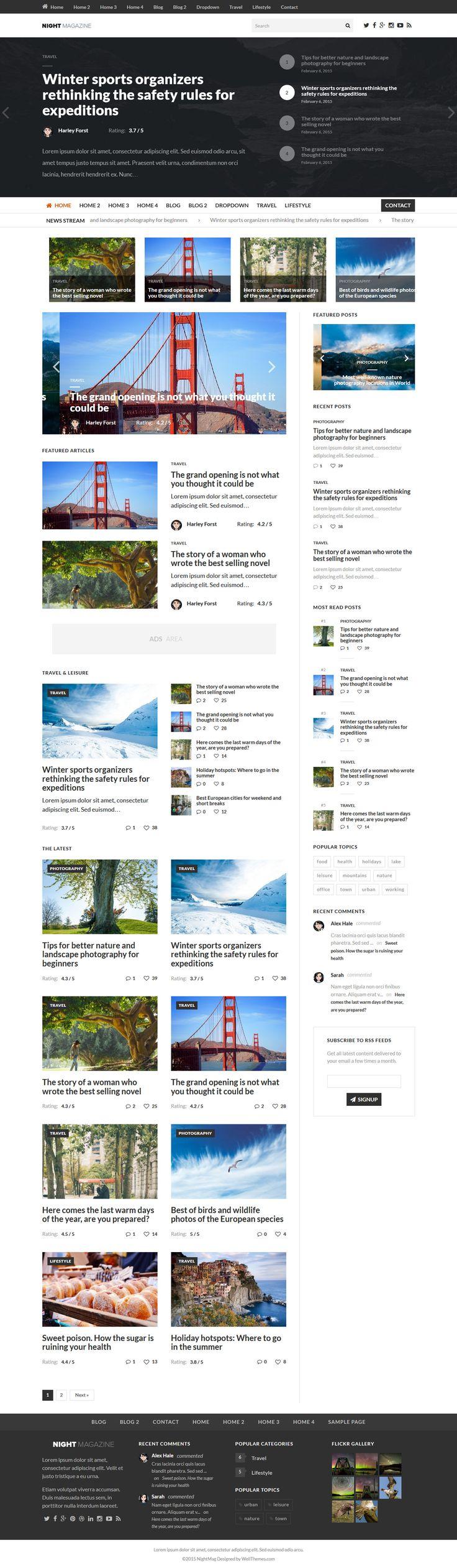 Night - WordPress News and Magazine Wordpress Theme #web #wordpress Live Preview and Download: http://themeforest.net/item/night-wordpress-news-and-magazine-theme/10379250?ref=ksioks