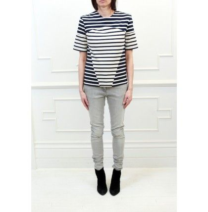 Markus Lupfer - Nautical Stripe Contrast Tee