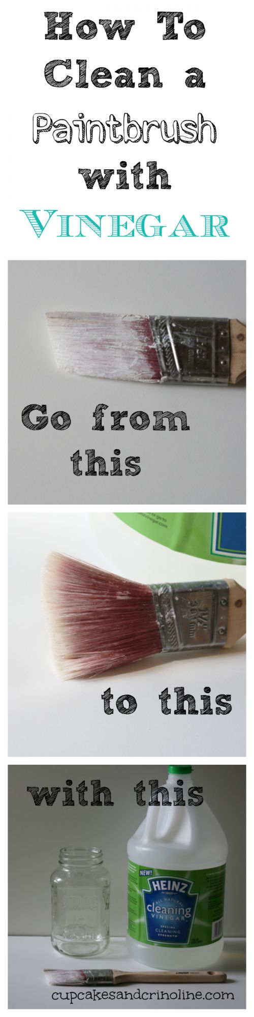 How To Clean a Dry and Crusted Paintbrush Easily with Vinegar - Cupcakes and Crinoline