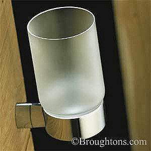 Photo On Samuel Heath Frosted Glass Tumbler Holder Polished Chrome bathroom