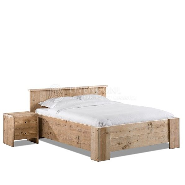 Steigerhouten ledikant Monti tweepersoons | scaffolding wood bed Monti | http://www.livengo.nl/steigerhouten-bed-monti | #steigerhout #bedden #bedrooms #livengo