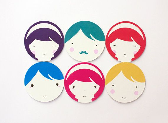 Cute paper coasters colorful coasters set of 6 by MessProject, €14.00  #papercoasters #housewarminggift #kawaii #illustration #cute #kids #colorfulgift #NurseryDecor