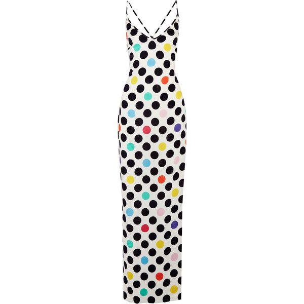 Emma Pake Emilia polka-dot crepe de chine maxi dress ($465) ❤ liked on Polyvore featuring dresses, print maxi dress, maxi dress, strappy maxi dress, multi color maxi dress and polka dot maxi dress