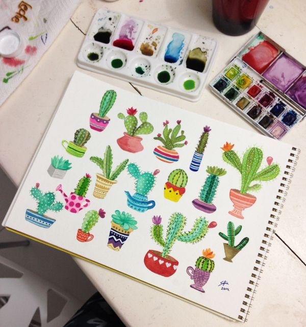 Cactus en acuarela on Illustration Served