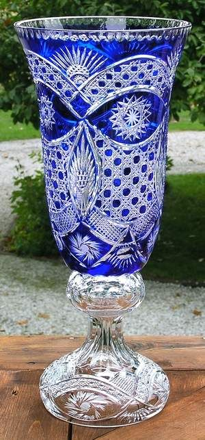 "hand cut cased crystal vase Victoria  19"" in cobalt blue  about  ten more of these!"
