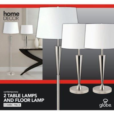 Globe Electric Room Full Floor and Table Lamps Set, Brushed Steel Finish, 3 Pack