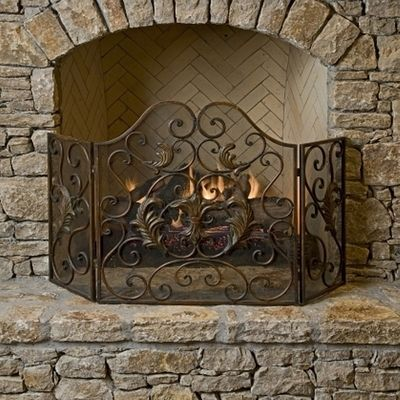 french 3 panel fireplace screen w ornate scroll design scroll design chang 39 e 3 and french. Black Bedroom Furniture Sets. Home Design Ideas