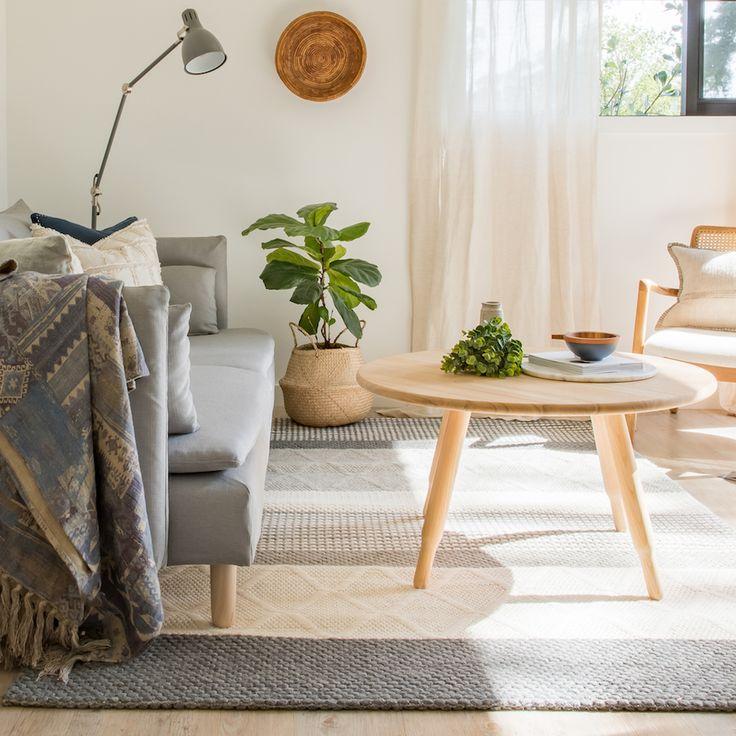 Boho coastal living room with light oak furniture