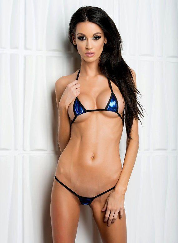 Bitsy'S Bikinis Solid Blue Foil Exotic Euro Style Micro G-String Extreme Bikini