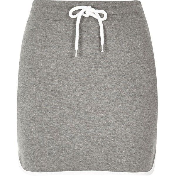 River Island Grey sweat mini skirt ($20) ❤ liked on Polyvore featuring skirts, mini skirts, bottoms, dresses, gray skirt, short skirts, river island, jersey knit skirt and grey skirt
