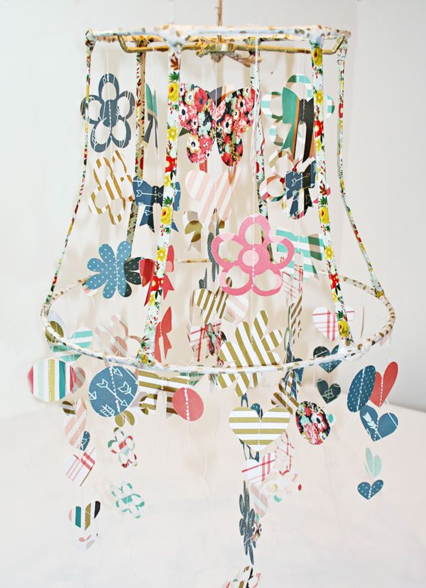 Washi tape and cut out shapes make a most unusual lampshade -- by Heather Leopard for My Mind's Eye