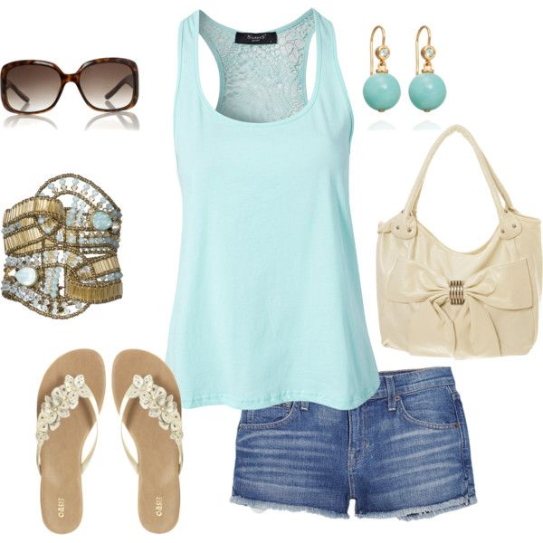 aqua tank and jean shorts, created by missyalexandra on Polyvore Clothes Outift for • teens • movies • girls • women •. summer • fall • spring • winter • outfit ideas • dates • parties Polyvore :) Catalina Christiano