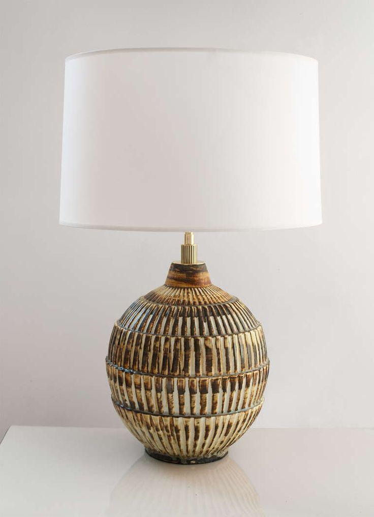 Swedish art deco unique studio ceramic lamp by gertrud for Lampade svedesi