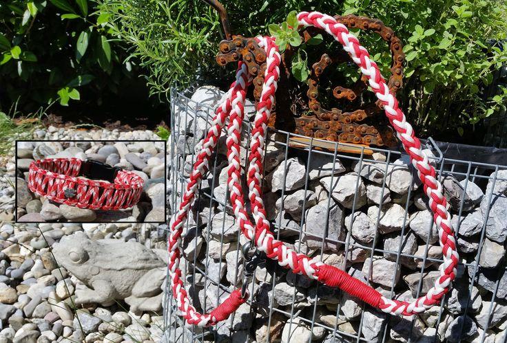 Leine und Halsband aus Paracord in rot-weiß-rot für alle patriotischen Österreicher(innen). ;-)